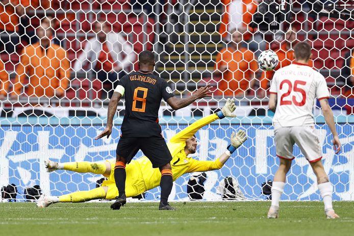 Wijnaldum met de 3-0, zijn 25ste goal in Oranje.