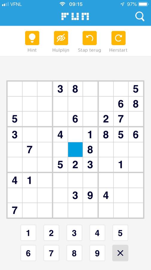FUN omgeving in de app - Sudoku