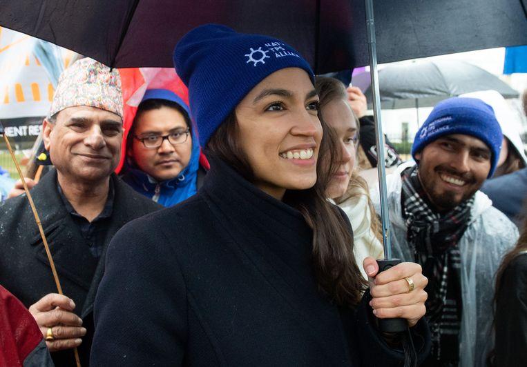 Afgevaardigde Alexandria Ocasio-Cortez: 'Alleen radicalen zoals Abraham Lincoln en Franklin Delano Roosevelt hebben dit land veranderd.' Beeld AFP