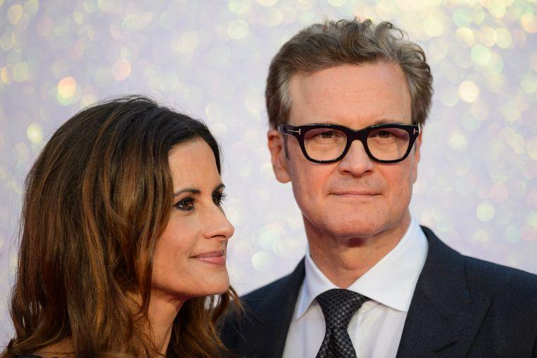 Acteur Colin Firth met zijn Italiaanse echtgenote Livia Giuggioli. Beeld Photo News