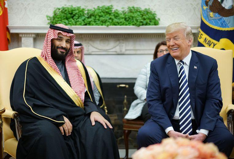 President Trump in maart met de Saudische kroonprins Mohammed bin Salman in het Witte Huis. Beeld AFP