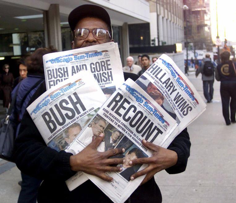 Archiefbeeld van 8 november 2000, de verkiezingsstrijd tussen Bush en Gore. Beeld AP