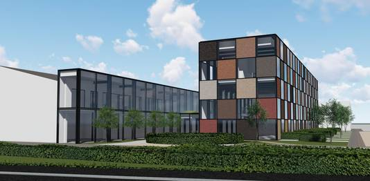 Het nieuw kantoorgebouw wordt de blikvanger op de site.
