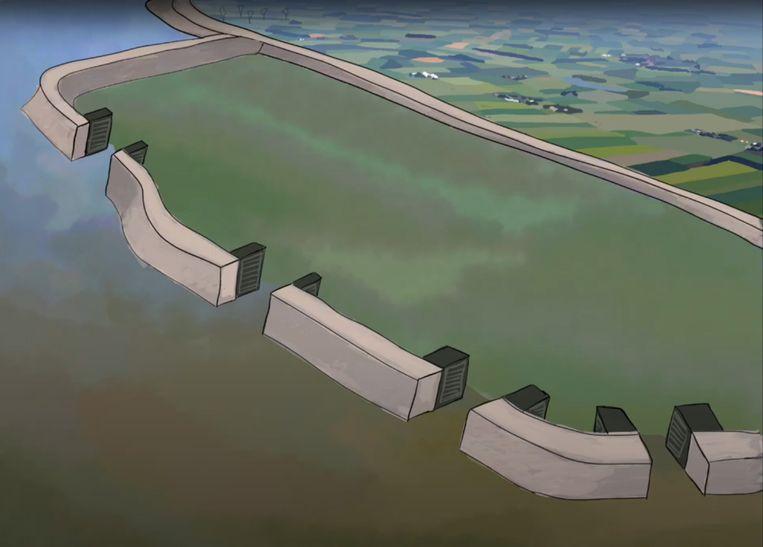Fase 3: de polder is dusdanig opgehoogd met vruchtbaar slib dat er uitstekende landbouwgrond is ontstaan.  Beeld