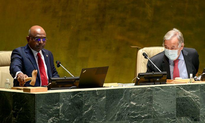 Voorzitter Abdulla Shahid van de Algemene Vergadering en VN-secretaris-generaal Antonio Guterres.