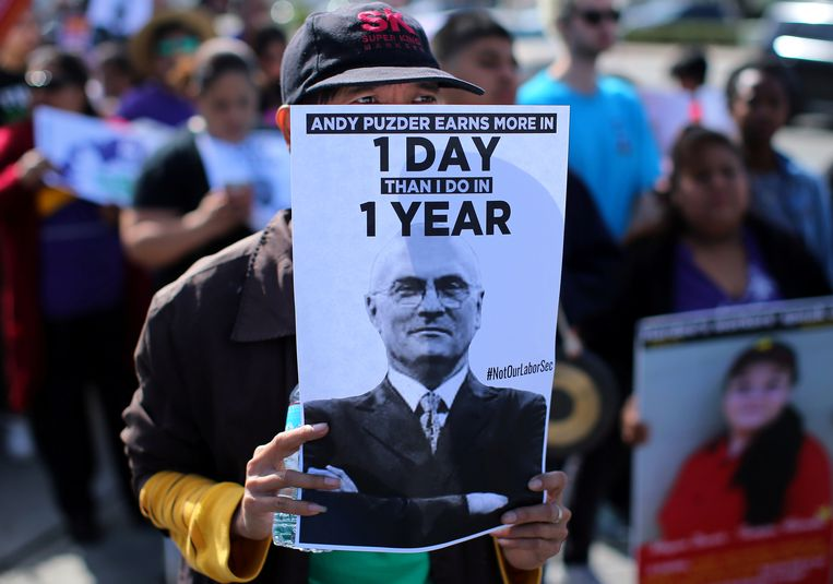 Archiefbeeld: protesten tegen de aanstelling van Puzder. Beeld REUTERS