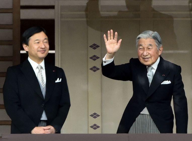 Kroonprins Naruhito met zijn vader.