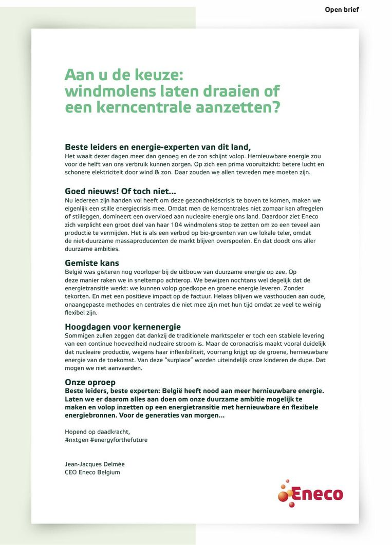 De open brief van Eneco Beeld Eneco