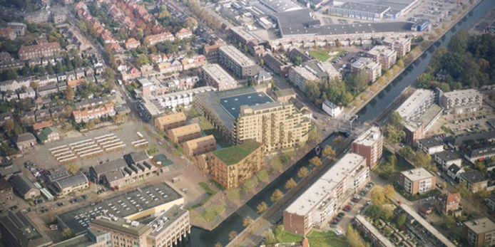Bouwplan Picuskade aan Eindhovensch Kanaal, met woningen en uitbreiding DAF Museum. Illustratie Wooninc./Architectenbureau Diederendirrix