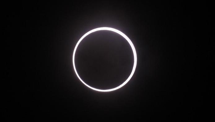 De ringvormige zonsverduistering die afgelopen mei in een deel van Japan zichtbaar was.