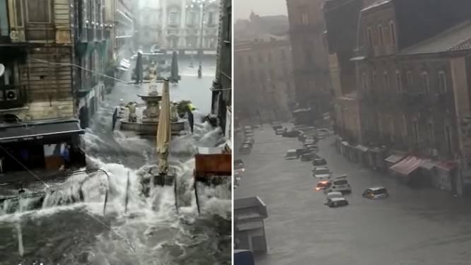 Wanneer straten kolkende rivieren worden: hallucinante beelden van noodweer op Sicilië