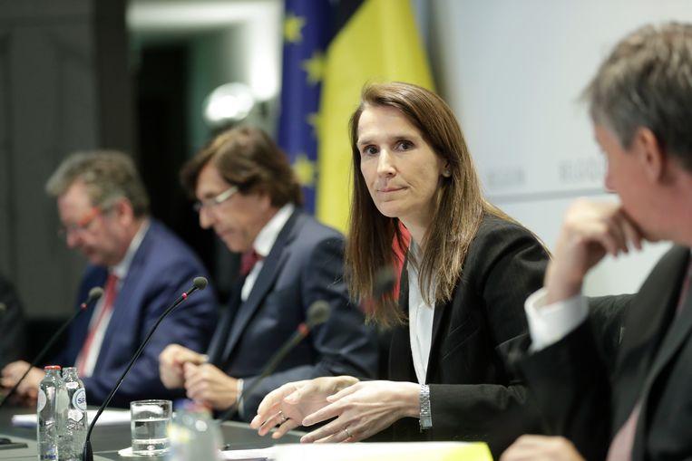 Premier Sophie Wilmès tijdens de Nationale Veiligheidsraad, vrijdagavond.