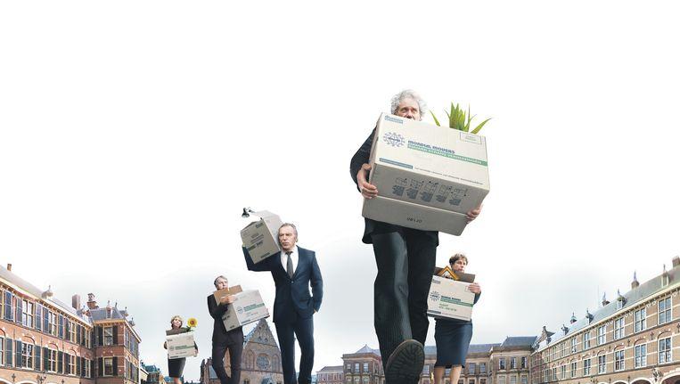 Van links naar rechts: de senatoren Marleen Barth, Loek Hermans, Elco Brinkman, Thom de Graaf en aspirant-senator Marjolein Faber. Beeld Lumine.nl
