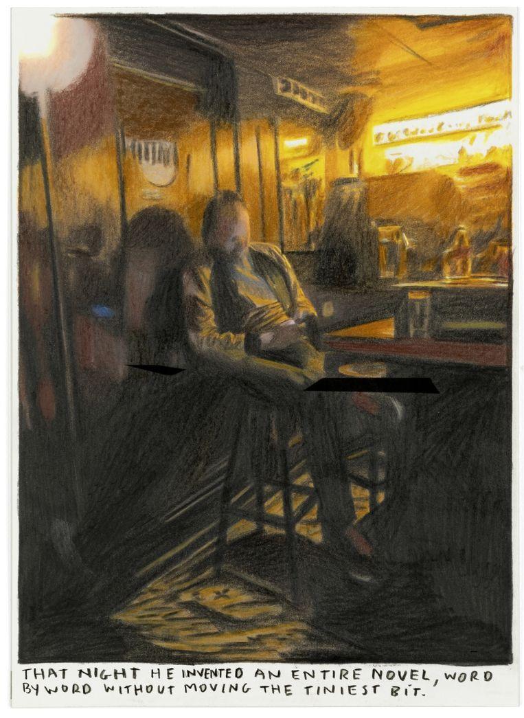 Tom Van Laere: 'Laatst gingen Rinus en ik op café. In plaats van een gesprek te voeren, schreef ik een kortverhaal op mijn smartphone. En Rinus maakte daar een tekening van.' Beeld RINUS VAN DE VELDE - THAT NIGHT HE INVENTED AN ENTIRE NOVEL,..., 2020 -COLORED PENCIL ON PAPER,  ARTIST FRAME - 23 X 16,5 CM - COURTESY TIM VAN LAERE GALLERY