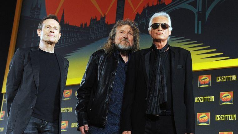 De drie overgebleven leden van Led Zeppelin John Paul Jones, Robert Plant en Jimmy Page Beeld ANP