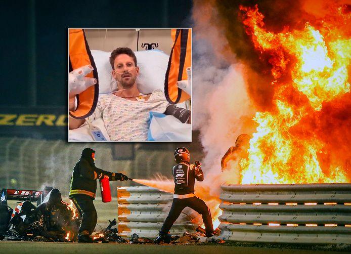 De vuurzee na de crash. Inzet: Romain Grosjean reageert vanuit het ziekenhuis.