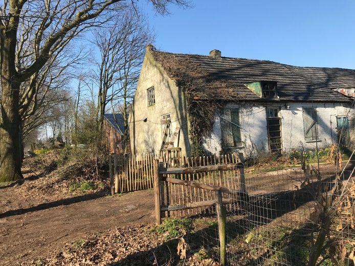 De bouwvallige boerderij aan de Hoekstraat in Venhorst waarin Nel Jacobs moet gaan wonen.  Links is nog net de champignonkwekerij zichtbaar waarin ze al jarenlang illegaal verblijft.