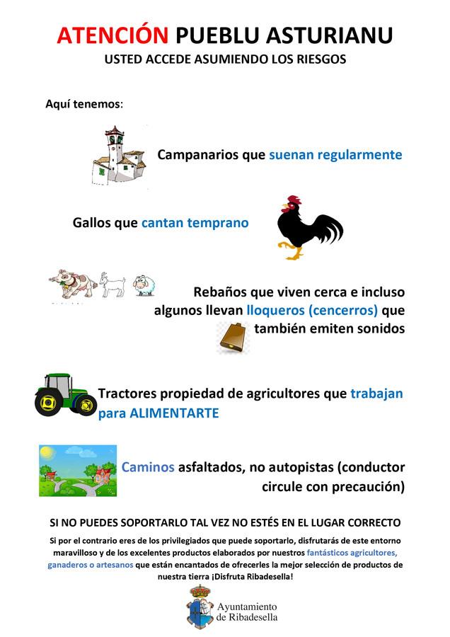 De poster die het gemeentebestuur van het Spaanse dorp Ribadesella verspreidde.