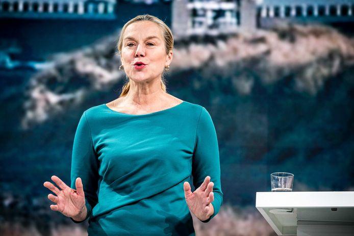 Lijsttrekker Sigrid Kaag van D66 kan feestvieren, haar partij is de tweede van Nederland geworden