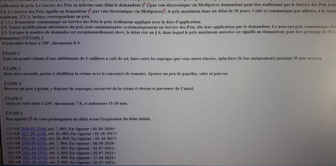 La recette des asperges au cantal publiée au Moniteur belge