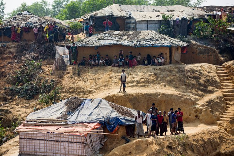 Rohingya-vluchtelinen in het kamp van Kutapalong in Cox's Bazar.