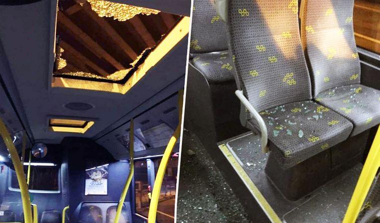 Het brokstuk viel door het dakraam in de bus. Het verbrijzelde glas lag overal in de bus verspreid. Beeld Twitter/@JorisVDBroucke