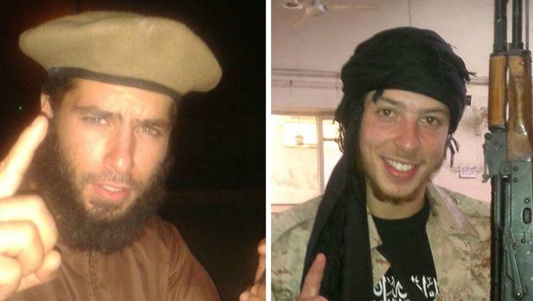 Redwane Hajaoui en Tarik Jadaoun zijn twee jongemannen uit Verviers die zich Abu Khalid Al Maghribi en Abou Hamza laten noemen en recent naar het front in Syrië trokken. Beeld Kos