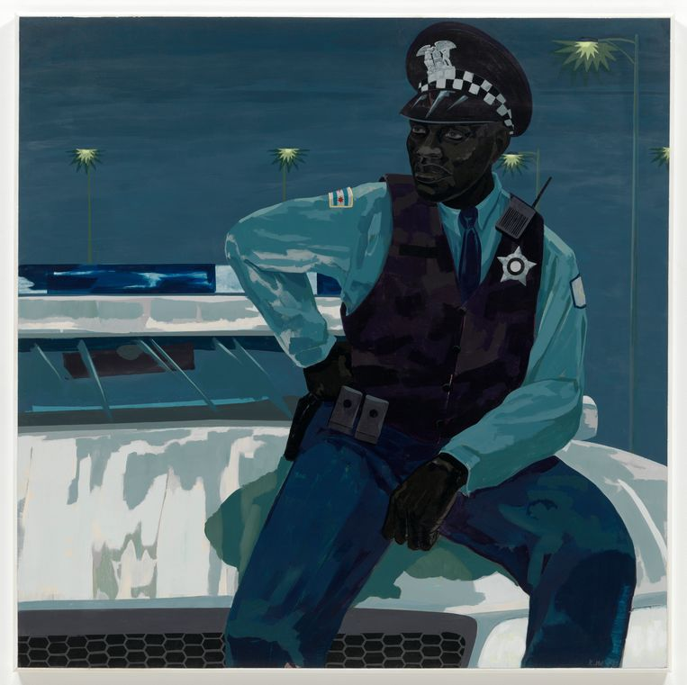 Kerry James Marshall, 'Untitled (policeman)', 2015.  Beeld Marie-Josée Kravis, door Kerry James Marshall, ter beschikking gesteld door de kunstenaar en Jack Shainman Gallery, New York