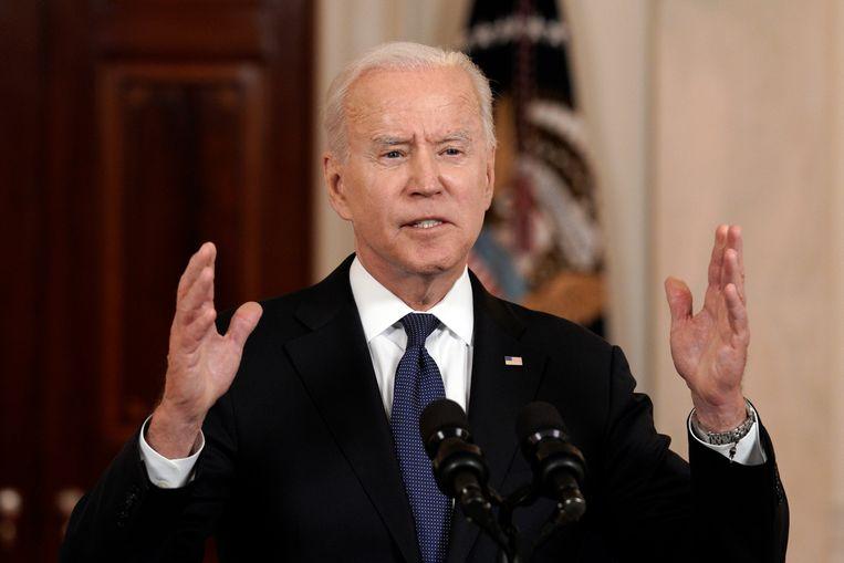 De Amerikaanse president Joe Biden tijdens zijn verklaring in het Witte Huis over het staakt-het-vuren tussen Israël en de Palestijnse groeperingen Hamas en Islamitische Jihad. Beeld EPA