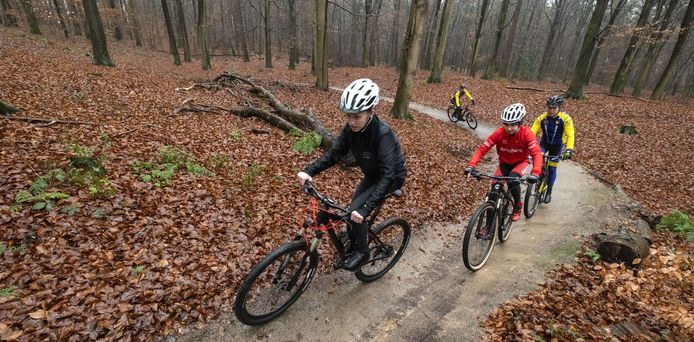 Jeugdige mountainbikers crossen door de bossen bij Rijssen.