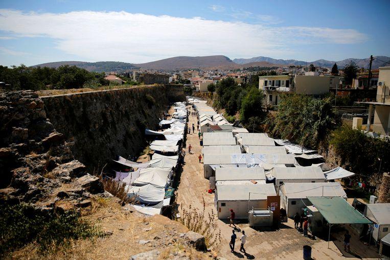 Het vluchtelingenkamp van Souda op Chios. Beeld REUTERS