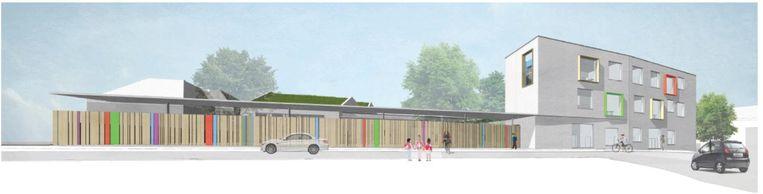 De nieuwe school wordt een modern en groen gebouw.