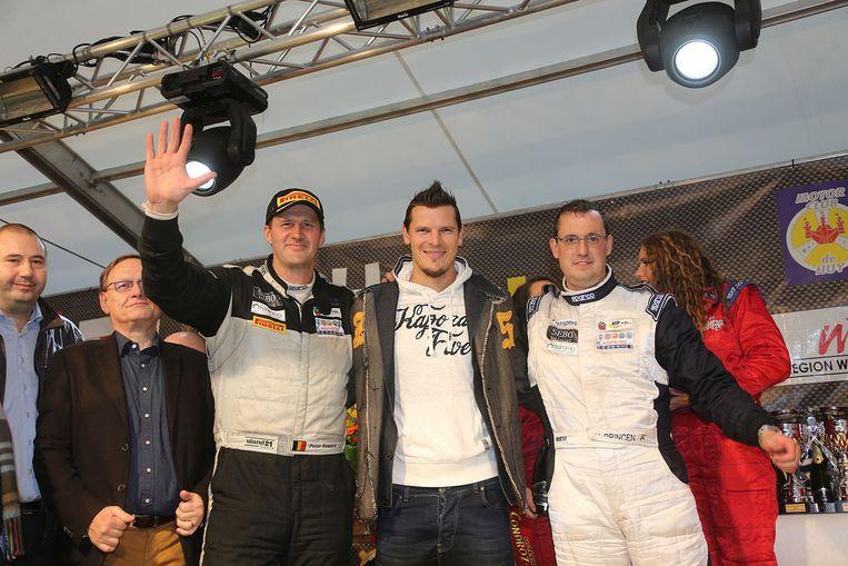 Van Buyten stond zondag op het podium van de Rally van de Condroz in Hoei naast Kris Princen en zijn co-rijder Peter Caspers. Beeld BELGA