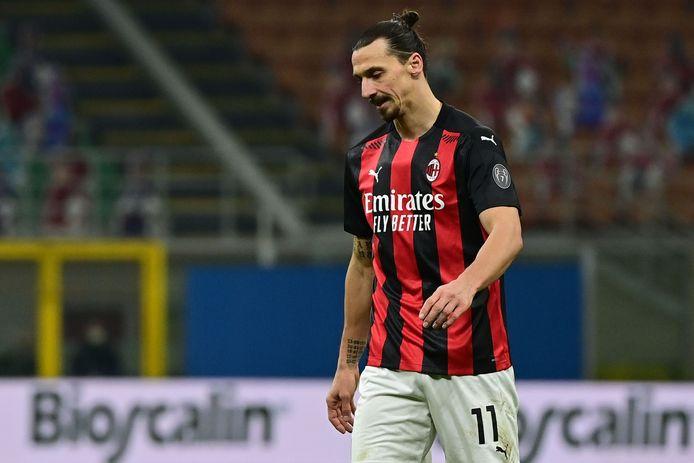 Zlatan Ibrahimovic zaterdag in de met 3-0 verloren wedstrijd tegen Atalanta.