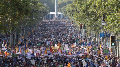 Half miljoen mensen op betoging tegen terreur in Barcelona