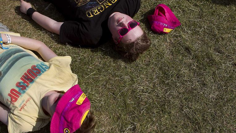 Bezoekers in het gras op de zonnige tweede dag van Pinkpop. Beeld anp