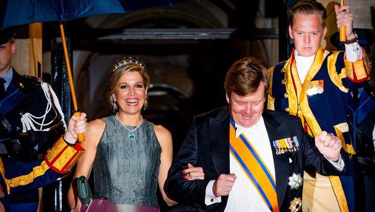 Koning Willem-Alexander en Koningin Maxima eerder deze week bij het jaarlijkse galadiner voor het Corps Diplomatique in het Paleis op de Dam. Beeld ANP