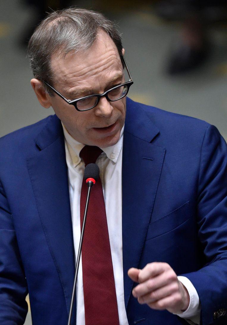N-VA-fractieleider Peter De Roover, vanmiddag in de Kamer. Beeld Photo News