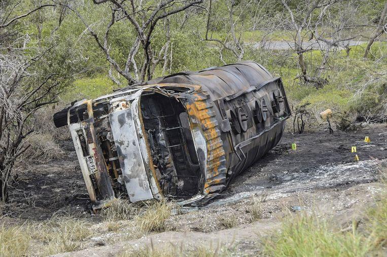 De ontplofte tankwagen