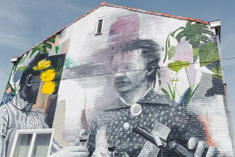Een werk van Wasp Elder in Oostende Beeld DAMON DE BACKER