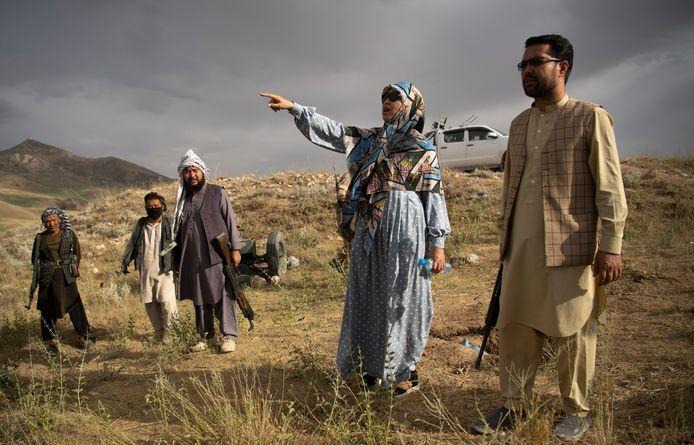 Salima Mazari, een van de drie vrouwelijke gouverneurs in Afghanistan, eind juni. Time berichtte recent dat ze naar de Verenigde Staten is gevlucht.
