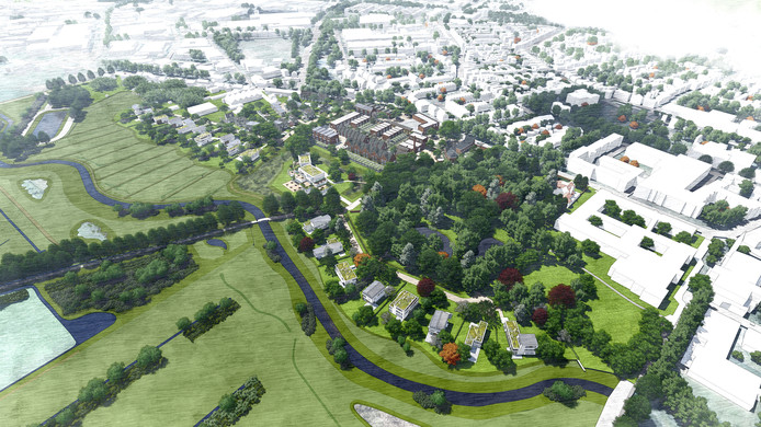 Te zien op deze tekening is dat het beekje de Leij wordt 'verschoven'.  Het gaat om het terrein Van Puijenbroek. Daarvoor in de plaats komen woningen grenzend aan het water.