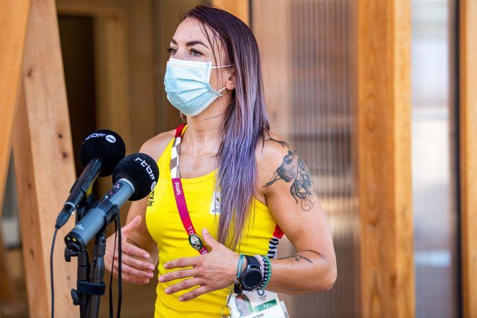 Charline Van Snick in het olympisch dorp in Tokio.