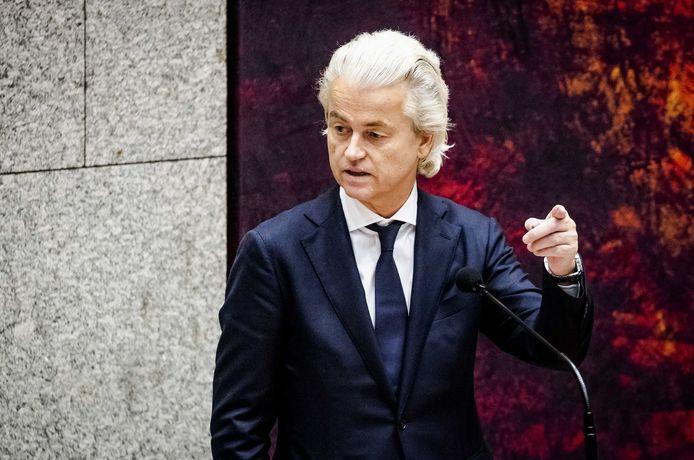 Geert Wilders (PVV) in de Tweede Kamer tijdens een debat.