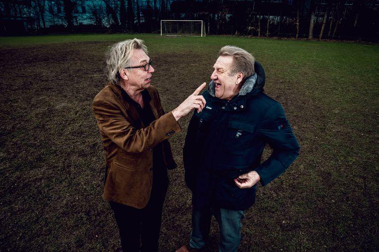 Mulder en Boskamp. Mulder: 'Dit seizoen van Anderlecht raakt me wel. Het is die neergang. Ik heb al verschillende keren gedacht: nou moet het niet meer gekker worden.' Beeld © Stefaan Temmerman