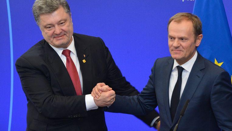 Petro Porosjenko van Oekraïne en Donald Tusk.