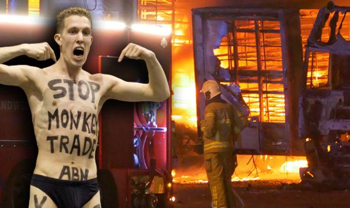 Vegan Streaker en op de achtergrond de brand bij Duck-To Tomassen in Ermelo.