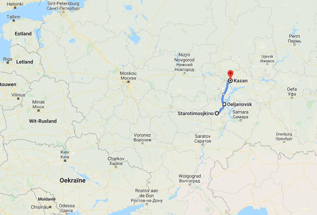 Van Starotimosjkino naar Oeljanovsk is het zo'n twee uur rijden. De betere kliniek in Kazan ligt weer op twee uur rijden van Oeljanovsk.