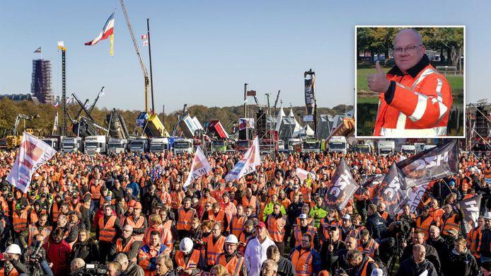 Jan Boerman uit Ommen meldde zich na een treinrit op het Malieveld in Den Haag.
