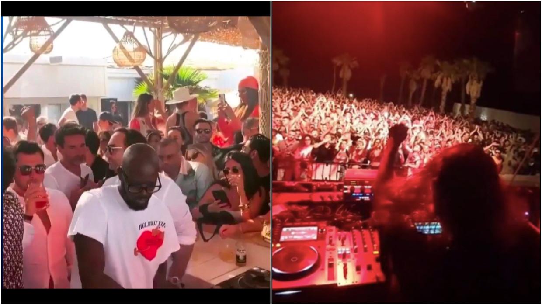 Links: op dit feestje in Saint-Tropez is het aan de bar drummen als altijd. Rechts: dj Charlotte De Witte speelt op Sicilië een set voor een vol huis: niet zo coronaproof, lijkt het. Beeld VTM/RV